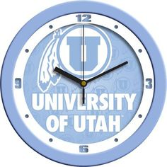 NCAA Utah Utes Baby Blue Wall Clock