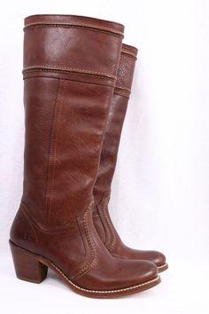 FRYE Jane 14L Redwood Brown Leather Knee High Campus Riding Boots Women 6.5 M #Frye #KneeHighBoots