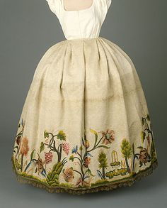 """Petticoat, c.1760. In this era, """"petticoat"""" meant a outerskirt, often with embroidered decoration to be seen beneath a split skirt."""