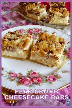I love pears anytime and sometimes I overlook how great they can be in a dessert. Firm shortbread-style crust, creamy cheesecake filling with a tasty pear crumb topping. Pears are a great immune system booster. ~ Jen #pearcrumbcheesecakebars #cheesecakebars #bars #squares #pearrecipes #lowcarb #fallrecipes #glutenfree