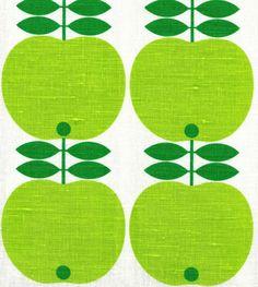 Scandinavian tea towel koloni apples 50s vintage era fabric