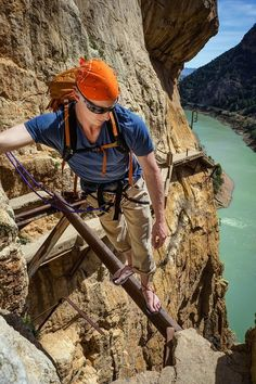 Balancing precariously on rusty steel beam 350 feet in the air, I slowly cross trying not to glance down. The Caminito del Rey is not your typical hike. Adventure Quotes, Adventure Awaits, Adventure Travel, Mountain Images, Nerja, Steel Beams, Paragliding, Hiking Tips, Spain Travel
