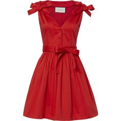 Sleeveless Poplin Dress (15.590 RUB) ❤ liked on Polyvore featuring dresses, red, pleated dresses, tie belt, red sleeveless dress, v neck sleeveless dress and v neckline dress