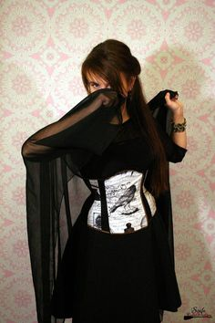 underbust corset velvet ornaments black matte sateen spiral boning busk lingerie guipure owl raven