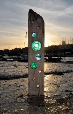 This recycled timber and glass sculpture by Louise V Durham would look wonderful in the garden.