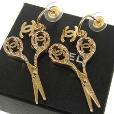 Chanel Vintage CC Logos Pierced Earrings Rhinestone Gold Tone