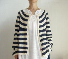 Daniela Gregis, hand knitted cardigan stripes