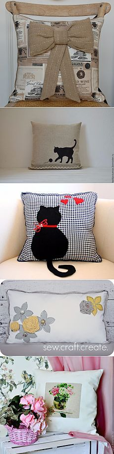 The kitties would be very cute done in felt Cute Cushions, Cute Pillows, Scatter Cushions, Diy Pillows, Decorative Pillows, Throw Pillows, Pillow Ideas, Hobbies And Crafts, Diy And Crafts