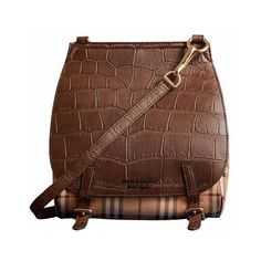 Burberry Small Bridle Bag in Alligator and Haymarket Check ($8,000) ❤ liked on Polyvore featuring bags, handbags, alligator purse, satchel purses, brown crossbody purse, alligator handbags and satchel handbags - purse shopping, womens black handbags, brown leather handbags *ad