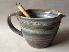 Batter Bowl Pottery Mixing Bowl Blue Bowl by CharlotteLeePottery