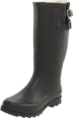 $47.48-$74.95 Chooka Women's Signature Solid Dual Buckle Rain Boot,Jet,10 M US - Splish splash in style while wearing the Chooka Boot Signature Solids rain boots.  Molded rubber upper in a casual pull-on rain boot style with a round toe.  13 1/2 inch shaft, 15 inch circumference collar with a folded rubber side gore and dual adjustable buckle straps with logo detail.  Textile lining and cushioning ...