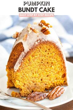 "This Pumpkin Bundt Cake is super moist and topped with a maple glaze and toasted pecans! A perfect dessert for the holidays that ""wow's"" and is easy enough to make even if you aren't totally kitchen confident. Spice Cake Mix And Pumpkin, Pumpkin Bundt Cake, Pumpkin Spice Muffins, Pumpkin Recipes, Cake Recipes, Dessert Recipes, Spiced Pumpkin, Sweet Potato Cupcakes, Toasted Pecans"
