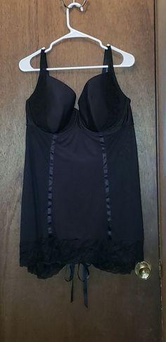ca05e9a4d7c NWT Cacique Lane Bryant Black Babydoll Chemise 26 28  fashion  clothing