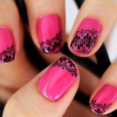 Every girl like pink nail art designs. Here are some collection pink nail art designs. Hope you like these pink nail art designs. Lace Nail Art, Lace Nails, Pink Nail Art, Henna Nails, Blue Nail, Nail Black, Silver Nail, Red Nail, Manicure Rose