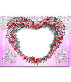 Marco para fotos hecho con rosas con forma de corazón. http://www.fotoefectos.com