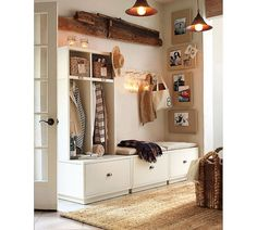 Entryway Mudroom Design With Rattan Basket Storage Wooden Bench Seat ...