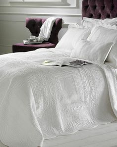 Create a luxury bedroom with the Naples white cotton quilted bedspread, available at Marquis & Dawe with matching pillowshams and cushions. White Quilt Bedding, Linen Bedding, Bedding Sets, Bed Linen, White Bedspreads, Quilted Bedspreads, Naples, Straight Edge, Shabby Chic Quilts