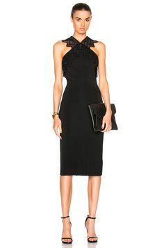 Image 1 of David Koma Zig Zag Macrame Pencil Dress in Black