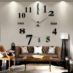 Modern DIY Large Wall Clock 3D Mirror Surface Sticker Home Office Decor Black #Modern