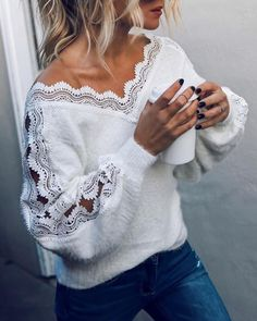 Check The Best Price In My Store 2020 Autumn Winter Women Lace V-neck Tops Blouse Ladies Casual Loose Sweater Warm Sweater in Sweaters Categories. Lace Sweater, Long Sleeve Sweater, Sweater Dresses, Casual Sweaters, White Sweaters, Casual Tops, White Jumper, Mode Boho, Elegantes Outfit