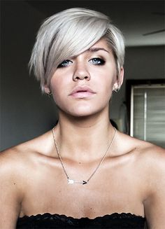 Anna Russett - bleach blonde/grey short hair