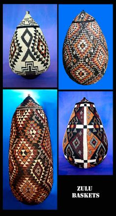 Africa | Baskets from the Zulu people of KwaZulu-Natal province in South Africa Le Baobab, Kwazulu Natal, Weaving Art, Native Indian, Woodturning, Ancient Art, Anthropology, Gourds, African Art