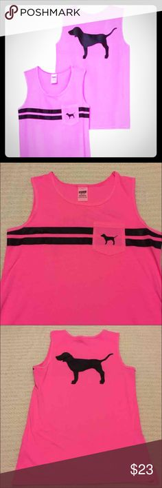 Sz XS VS PINK Bright Pink Dog Campus Tank New with tags  Victoria's Secret PINK Bright Pink Dog Campus Tank  Size XS  Small pocket on the front  Large Dog logo on the back  Campus tanks are oversized PINK Victoria's Secret Tops Tank Tops