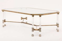 Italian Romeo Rega Mid-Century Brass & Lucite Coffee Table | From a unique collection of antique and modern coffee and cocktail tables at http://www.1stdibs.com/furniture/tables/coffee-tables-cocktail-tables/