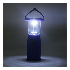 (Blue) 6 LED Hand-up Dynamo Portable Solar Camping Bivouac Camp Lantern Light Lamp, Two Optional Modes of 3 LEDs or 6 LEDs, Charged by Sunlight or Other lights