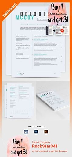 Modern Resume  Cover Letter Template --- Editable word format - 3 resume formats