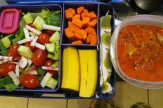 Salad with romaine, cucumbers, radishes, tomatoes and olive oil  Carrot sticks  Banana  Transylvania stockpot stew (via The Primal Blueprint Cookbook)