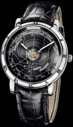 Ulysse Nardin Planetarium Copernicus. One single movement of mechanical excellency plus a stroke of pure genius combine Ptolemy's geocentric universe with the Earth at its center, and Copernicus' heliocentric universe with the Sun at its center. This allows the reading of the astronomical positions of the planets in relation to the Sun and the Earth. A perpetual calendar indicating the months and the sign of the zodiac completes one turn in 365.24 days at the exterior. Ltd to 100 sets.