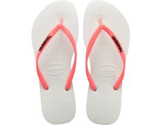 """<p>The Slim Logo Pop-Up embodies the trend of """"unexpected combination"""" with a contrasting slim jelly strap and Havaianas logo. Comfort comes courtesy of our signature textured footbed.</p><ul><li>Thong style</li><li>Cushioned footbed with textured rice pattern and rubber flip flopsole</li><li>Made in Brazil</li></ul>"""