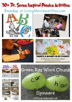 Dr. Seuss inspired phonics activities that would work well as extensions to a Montessori phonics program
