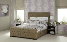 The luxurious Lillian fabric bed frame in fudge. Offers a sophisticated and elegant look for any bedroom. Chesterfield Bed, Studded Headboard, Ottoman Storage Bed, Bed Frame With Storage, Upholstered Bed Frame, Quilted Bedspreads, Cool Beds, Bed Spreads, Bedroom Furniture