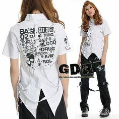 GOTHIC PUNK Lolita 7382 CHAIN LACE WHITE SKULL SHIRT TEE M #GDR #Shirt
