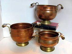 3 Copper Flower Planters / Flower Pots Delft by VintageLoversShop, $45.00