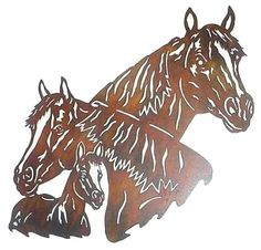 Horse Family Wall Hanging - Metal Art