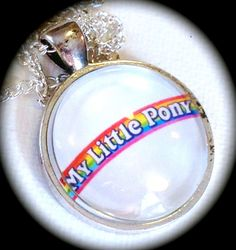 MY LITTLE PONY . Glass Pendant Necklace  . Classic by girlgamegeek, $11.11