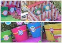 1st Bday ideas - love these colorful buckets!