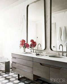 A Revived Townhouse in London Bathroom - Carrara Marble slab walls and vanity with undermount sink, Gunmetal Mirrors, dornbracht fixtures Morrocan tile floors, driftwood cabinetry…Elle Decor Bad Inspiration, Bathroom Inspiration, Interior Inspiration, Interior Ideas, Modern Bathroom Design, Bathroom Interior Design, Bathroom Designs, Bathroom Ideas, Bathroom Storage