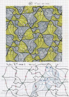 #escher41 #geometry #symmetry #handmade #mathart #regolo54 #escher #tessellation #tiling #wallpaper