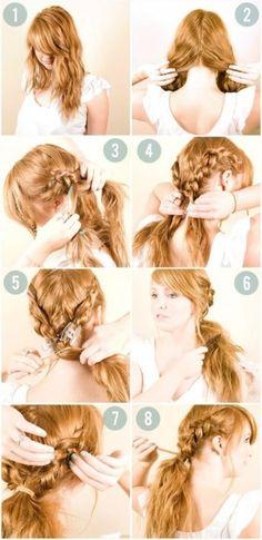 Coleta con dos trenzas, encuentra más opciones en peinados con trenzas aquí http://www.1001consejos.com/peinados-con-diferentes-trenzas/