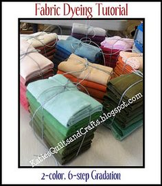 How do do a 2-color 6-step Gradation  Fabric dyeing tutorial by   KatiesQuiltsandCrafts.blogspot.com