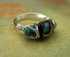 Wire Wrapped Ring Abalone Jewelry Custom Ring Turquoise Teal Wire Work Paua Shell. $13.00, via Etsy.