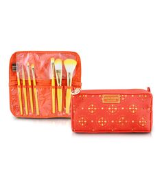Seven-Piece Orange Makeup Brush & Cosmetic Bag Set