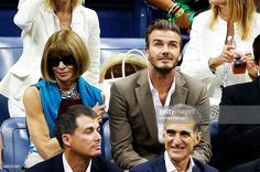 Editor-in-chief of American Vogue Anna Wintour and English former professional footballer David Beckham the Men's Singles Final match between Roger Federer of Switzerland and Novak Djokovic of Serbia on Day Fourteen of the 2015 US Open at the USTA Billie Jean King National Tennis Center on September 13, 2015 in the Flushing neighborhood of the Queens borough of New York City.