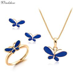 Cute Blue Oil Drop Butterfly Necklaces & Pendants Earrings Ring Small Jewelry Sets for Kids Children Girls Gold Plated Jewellery