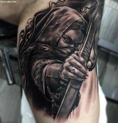 Best 3D Arm Tattoo Of Scary Girl With Bow And Arrow - Goluputtar.com