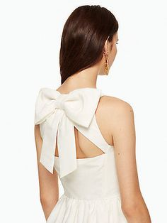 Kate Spade NEW YORK oversized bow back fit and flare dress in cream LWD NEW